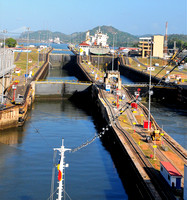 Entering first chamber of Miraflores Lock