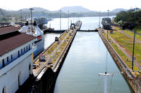 Looking back at the Pacific entrance to Miraflores Locks