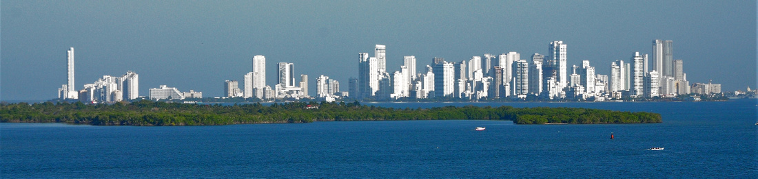 Cartagena from the sea - old city is on far right