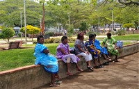 "Local women in Place des Cocotiers ""Coconut Tree Square"" in central Noumea"