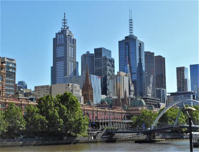 Footbridge across the Yarra River towards Flinders Street
